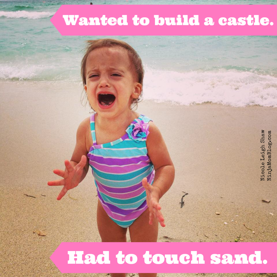 baby screaming in sand